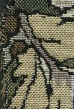 Abstractie voor de achtergrond donkere bruine stof met bloemendieornamenten van bosbladeren worden gemaakt Stock Foto