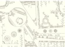 Abstraction. Abstract pattern with geometric and floral hand-drawn elements Stock Image