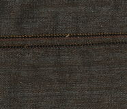Abstraction for the background. dark brown fabric with the bulk seam. Closeup of brown with seam. Close up of brown  detail with white stitching. Brown canvas Royalty Free Stock Image