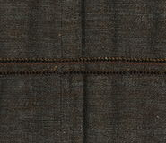 Abstraction for the background. dark brown fabric with the bulk seam. Closeup of brown with seam. Close up of brown  detail with white stitching. Brown canvas Royalty Free Stock Photo