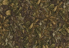 Abstraction for the background. dark brown fabric with floral ornaments made from forest leaves. A carpet of leaves in autumn. Decorative dark brown renaissance stock photo