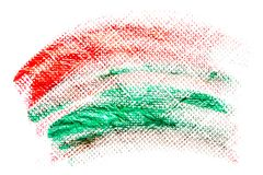 Abstraction for the background, drawing red and green paint on a white isolated background. Horizontal frame stock images