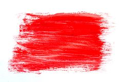 Abstraction for background, rectangular pattern with red paint on white isolated background. Horizontal frame stock photos