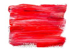 Abstraction for background, rectangular pattern with red paint on white isolated background. Horizontal frame stock photo