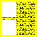 Abstraction: black Bicycle on a yellow background. Stock Photos
