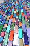 Abstraction bleue de brique Photographie stock