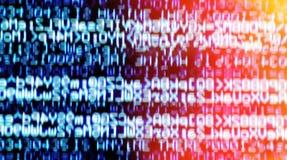Abstraction bleue horizontale de l'information de matrice avec la fuite légère b image libre de droits