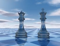 Abstraction blue background with chess pieces Royalty Free Stock Image