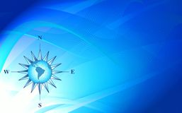 Abstraction blue background with compass Stock Image
