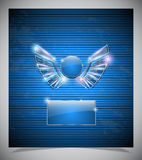 Abstraction blue background with  wings. Royalty Free Stock Photo