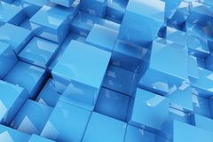 Abstraction blue cubes Royalty Free Stock Images