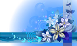 Abstraction with blue flowers Stock Images