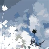 Abstraction. With blue sky and flowers Stock Photography