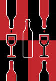 Abstraction with bottles and wineglasses Royalty Free Stock Image