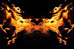 Abstraction, burning fire with sparks. Mystical type of butterfly or cat head. Close-up stock images