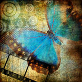 Abstraction with butterfly. In grunge style Stock Photo