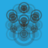 Abstraction with circles. Abstraction with transparent gray circles on the blue Stock Photos