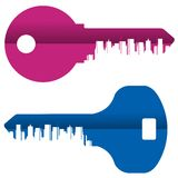 Abstraction. Colored keys and the city on a white Stock Image
