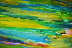 Yellow blue green orange muddy contrasts, paint watercolor creative background. Abstraction of colorful yellow blue green orange muddy contrasting paint royalty free stock photos
