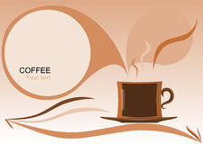 Abstraction with cup coffee and a text label. Cup of coffee in an abstract design with a text box Royalty Free Stock Image