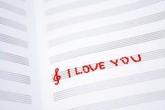 Abstraction de Saint Valentin sur la feuille de musique Images libres de droits