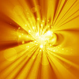 Abstraction  design, yellow glow. Abstraction glowing design with stars, golden background for cover  and other design artworks Royalty Free Stock Image