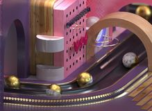 An Abstraction with different materials. 3d rendered abstract city with brass balls in canals and wooden elements vith dof Stock Illustration