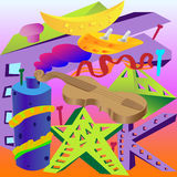 Abstraction of different objects, violin, roof, banana, oval, star, letter. Multicolored abstraction from different objects royalty free illustration