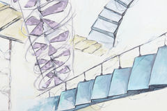 Abstraction with diffirent staircases Stock Photo