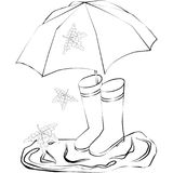 Drawing of rubber boots, umbrella, puddles. Abstraction drawing of rubber boots, umbrella, puddles stock illustration