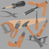 Abstraction drawn a variety of objects and tools Royalty Free Stock Photo