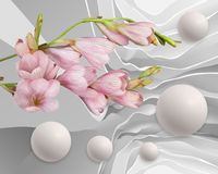 Abstraction flowers and balloons. Stereoscopic photo wallpaper for interior. 3D rendering. vector illustration