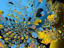 Abstraction from the fractals of the underwater world. Abstraction from fractals, part of the underwater world, blue water, fish, diving into the depths stock illustration
