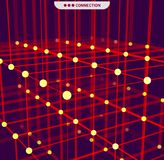 Abstraction géométrique de Digital avec des lignes et des points Fond futuriste abstrait Photographie stock libre de droits