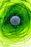 Dandelion on a greenish abstract background. Abstraction of a greenish-yellow tone with a dandelion image inside an elliptical figure Stock Photo