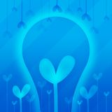 Abstraction with heart in blue. With lamp and other hearts Stock Photo