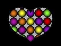 Abstraction heart of love. Black background with colored glowing balls Royalty Free Stock Image