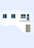 Abstraction, a home in the cloud. The comic image of apartments located in nutria clouds on a pale blue background Royalty Free Stock Photo