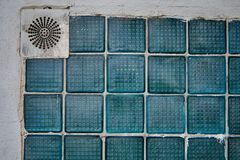Abstraction-industrial wall with glass inserts