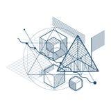 Abstraction isométrique avec des lignes et de différents éléments, vecteur Images stock