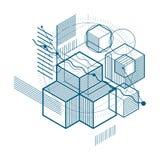 Abstraction isométrique avec des lignes et de différents éléments, vecteur Image libre de droits