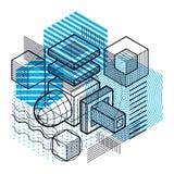 Abstraction isométrique avec des lignes et de différents éléments, vecteur illustration libre de droits