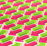 Abstraction made of pink and green arrows Royalty Free Stock Photo