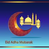 Abstraction month mosque lantern is a religious holiday of Muslims Eid adha mubarak. Postcard. Vector image. Eps royalty free illustration
