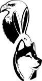 Abstraction noire et blanche des animaux, aigle, lièvre, loup, pas Photos stock