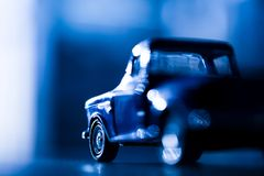 Abstraction old car. Abstraction old blue car, small depth sharpness, not contain copyright royalty free stock photo