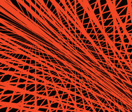 Abstraction.Orange mesh on a black background. Orange lines intersect at different angles based on the black Royalty Free Stock Image