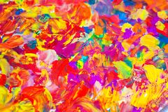 Abstraction painted with multicolored gouache. Drawing with your fingers. Mixing colors royalty free illustration