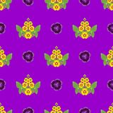 Pattern foliage floral ornament of yellow flowers with leaves. Abstraction pattern foliage floral ornament of yellow flowers with leaves on a lilac background vector illustration