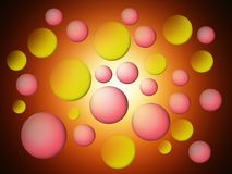 Abstraction. Abstraction. Pink and yellow figures of round and oval shape Stock Photos
